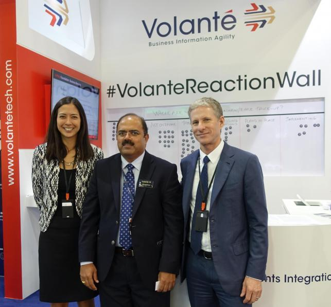 (from right) Chris Larsen, co founder and CEO at Ripple, Vijay Oddiraju, co founder and CEO of Volante Technologies and Monica Long, VP Marketing at Ripple