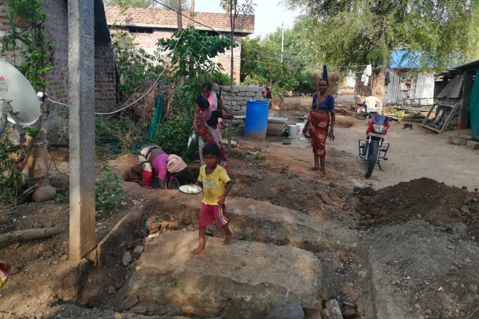 children helping to build 60 toilets 2